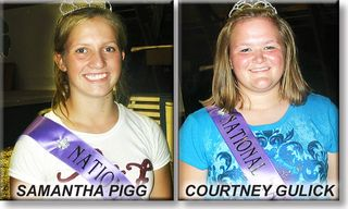 Tamworth Swine Association — Tamworth Queens 2012-2013 — Samantha Pigg and Courtney Gulick