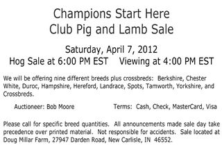 Doug Millar Farms — Club Pig & Lamb Sale — New Carlisle, Indiana